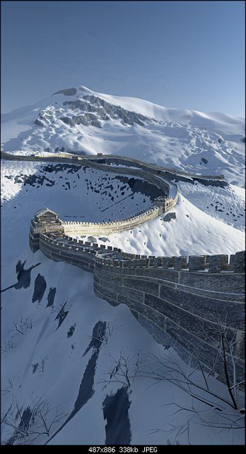 Magnificent Great Wall Snowscape 3D Model
