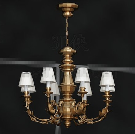 Magnificent metal frame white chandelier 3D Model