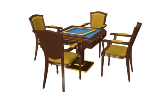 Mahjong Table 3d model-2