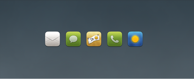 Mail, Chat, Phone, Weather Replacement Icons PSD