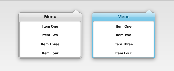 Menu Drop Down Interface PSD