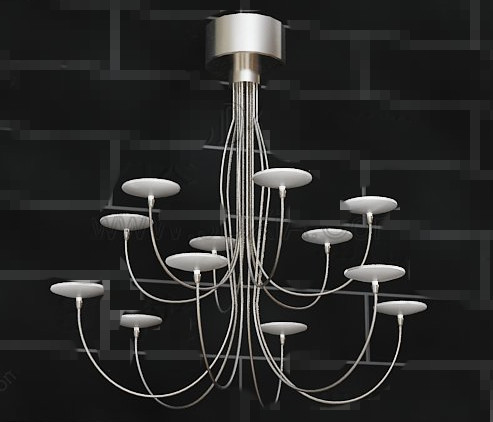 Metal candlesticks pendant lamp 3D Model