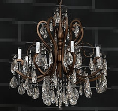 Metal chain crystal clear sequins chandelier 3D Model
