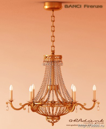 Metal chain European-style chandeliers 3D Model