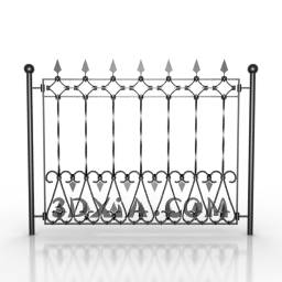 Metal craft fence door 3D Model