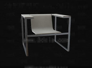 Metal frame smooth and white chair 3D Model