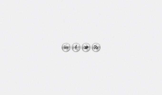 Metal Social Media Buttons PSD