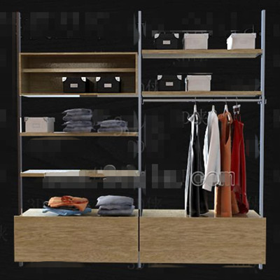 Metal stents wood drawers wardrobe 3D Model