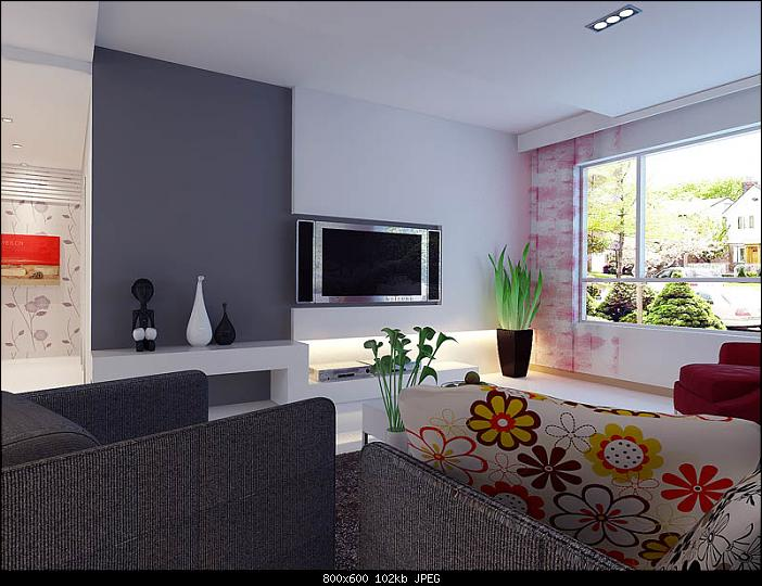 Minimalism Living Room Design: Pink 3D Model