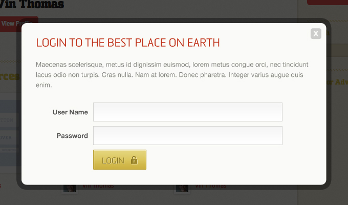Modal Login Form PSD