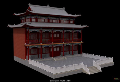 Model of the temple hall 3D Model