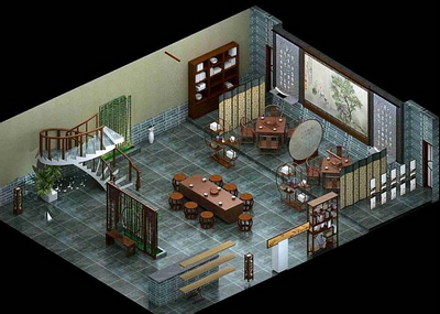 Model of traditional Chinese-style teahouse 3D Model