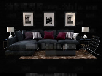 Modern and comfortable black sofa combination 3D Model