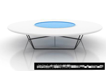 Modern and simple white, blue and round-table 3D Model