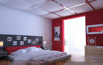 Modern and stylish white red bedroom 3D Model