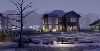 Modern architectural villa winter landscape 3D Model