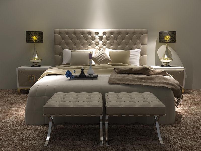Modern bed 3D model (including materials)