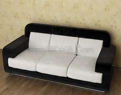 Modern black and white three seats sofa 3D Model