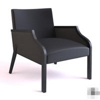 Modern black high back armchair 3D Model
