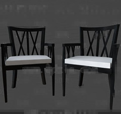 Modern black the white seat chair 3D Model