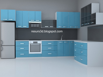 Modern blue household Cabinets 3D Model