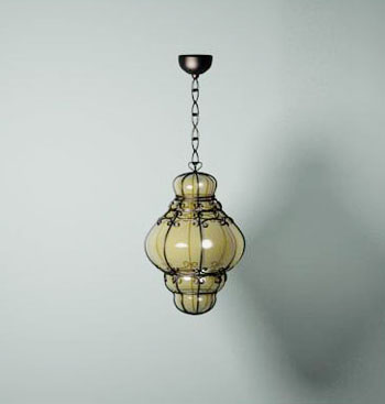 Modern branched glass pendant wall lamp 3D Model