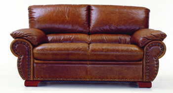 Modern brown double seats leather sofa 3D Model