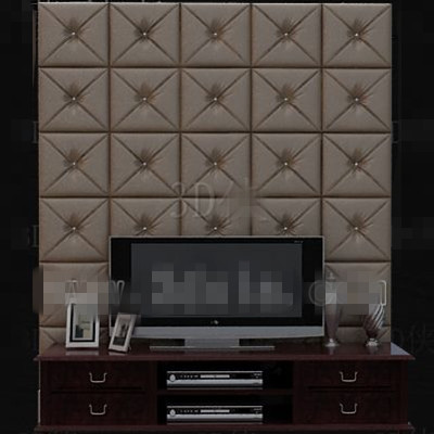 Modern brown leather TV wall 3D Model