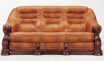 Modern Brown three seats leather sofa 3D Model