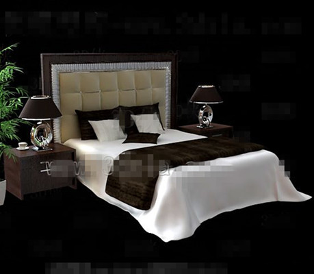 Modern brown wooden double bed 3D Model