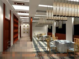 Modern clean and Casual restaurant 3D Model