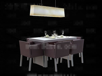 Modern comfortable purple dining table 3D Model