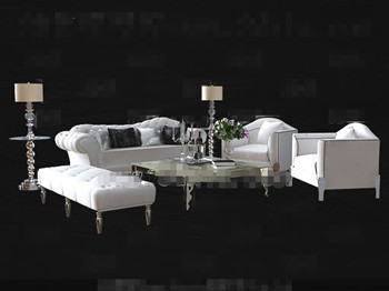 Modern cortical white sofa combination 3D Model