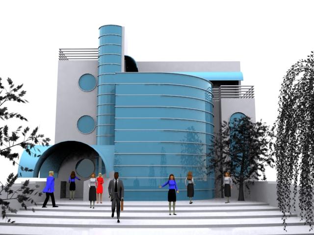Modern curtain wall construction 3D Model
