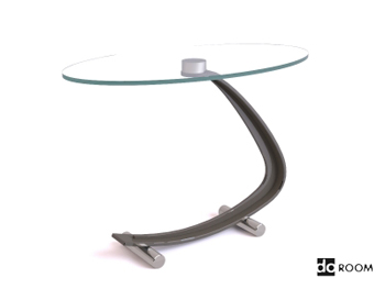 Modern curve bracket glass tea table 3D Model