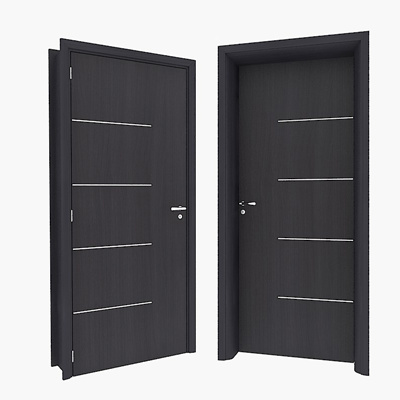 Modern dark solid wood door 3D Model