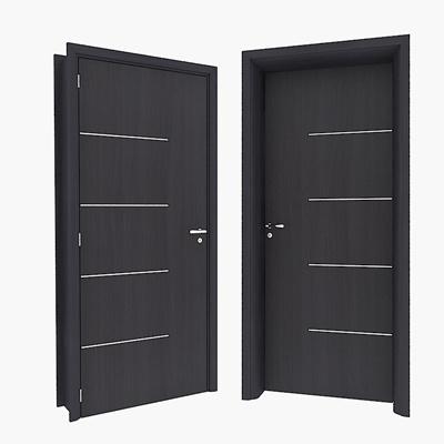 Modern dark solid wood door 3D Model