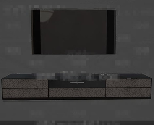 Modern fashion gray and black television wall 3D Model