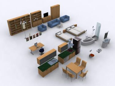 Modern furniture   !1-3 3D Model