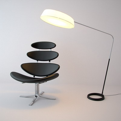 Modern Furniture Model�� Black Lounge Chair Livingroom Furniture 3D Model