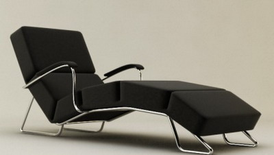 Modern Furniture Model��Black Upholstered Lounge Chair 3D Model