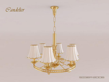 Modern Golden strawbs chandelier 3D Model