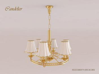 Modern Golden strawbs chandelier 3D Model