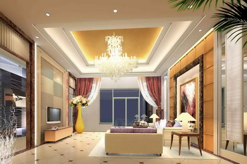Modern golden warm tone living room 3D Model
