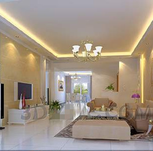 Modern light yellow theme living room 3D Model