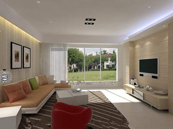 Modern light yellow warm living room 3D Model