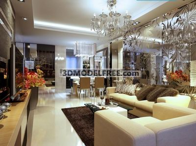 Modern Luxury Living Room Design 3D Model