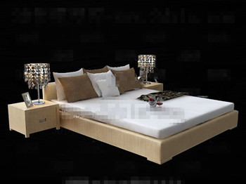 Modern minimalist comfortable double bed 3D Model