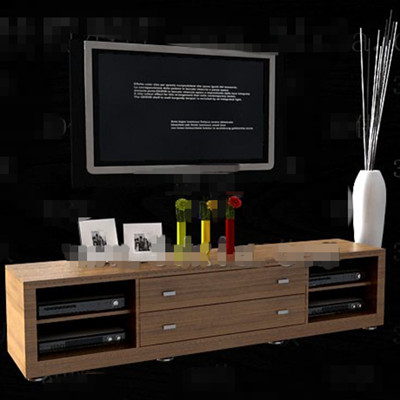 Modern minimalist long TV cabinet 3D Model