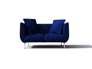 Modern navy blue double sofa 3D Model